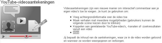 Screenshot uit YouTube help over annotations