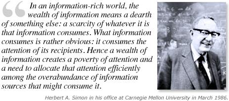 """Citaat van Herbert Simon uit """"Designing organizations for an information-rich world"""" (1971), p.40-41."""
