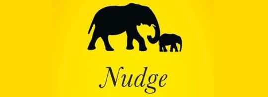 Detail uit de omslag van de Engelstalige editie van Nudge van Sunstein & Thaler bij Yale UP.