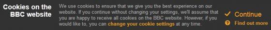 Cookiewaarschuwing van de BBC-site op 2014-06-25