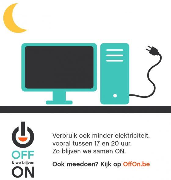 Scherm Uit beeld van www.offon.be/nl