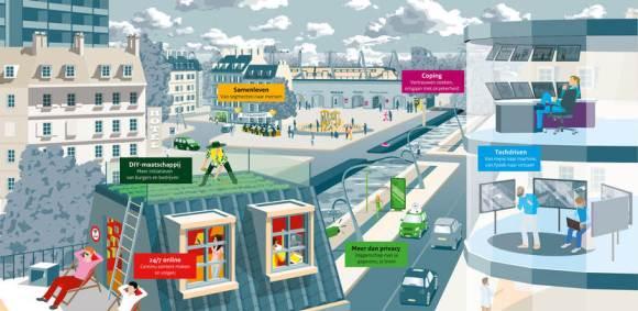 Illustratie van Frédérik Ruys van de firma Vizualism (Utrecht) voor het 'Iedereen aan zet' trendrapport van de Nederlandse Rijksoverheid (Den Haag 2017-12-13) - cf. https://www.vizualism.nl/trends-overheidscommunicatie/ en https://www.communicatierijk.nl/vakkennis/t/trends-en-overheidscommunicatie